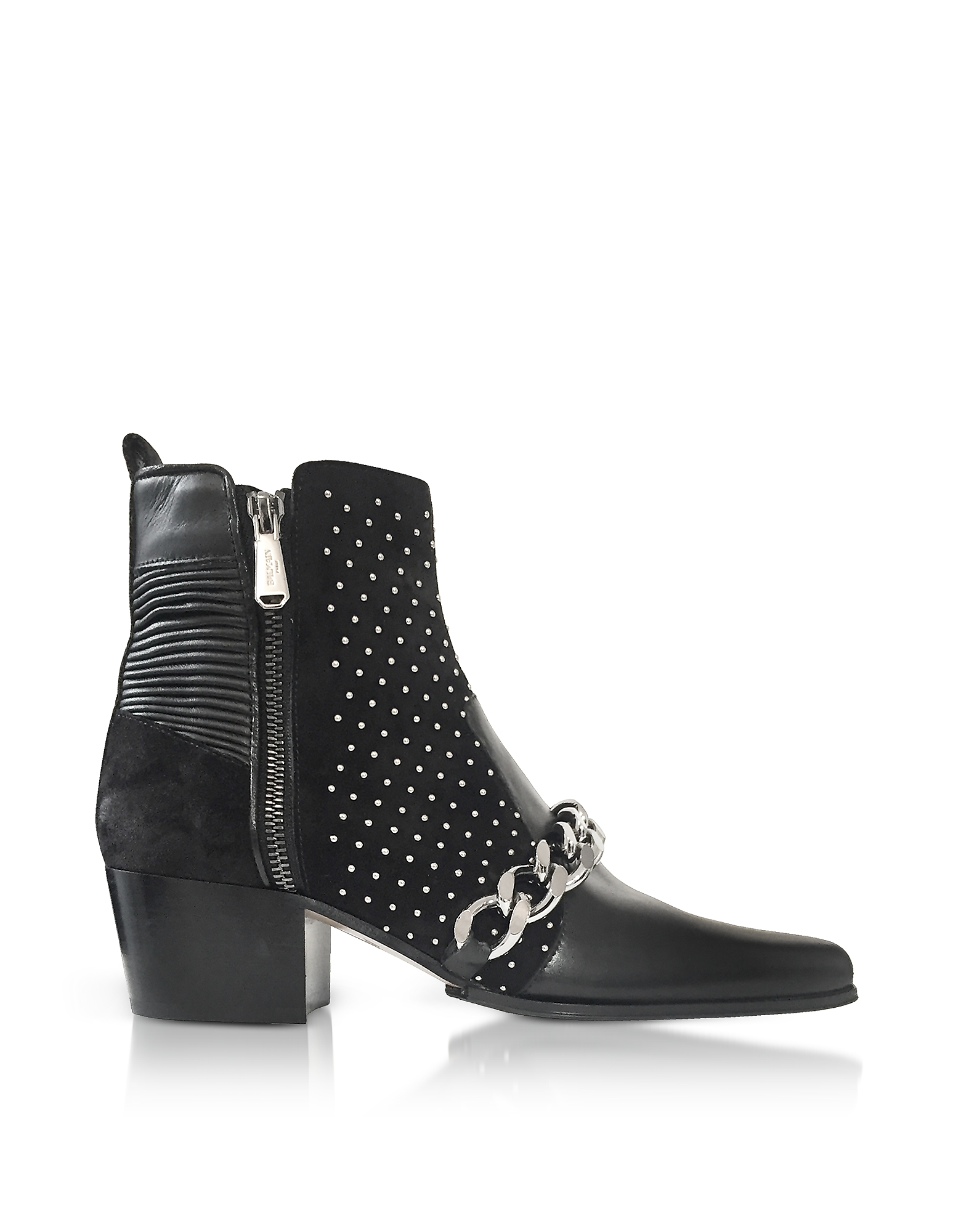 Black Leather Ella Studs Boots