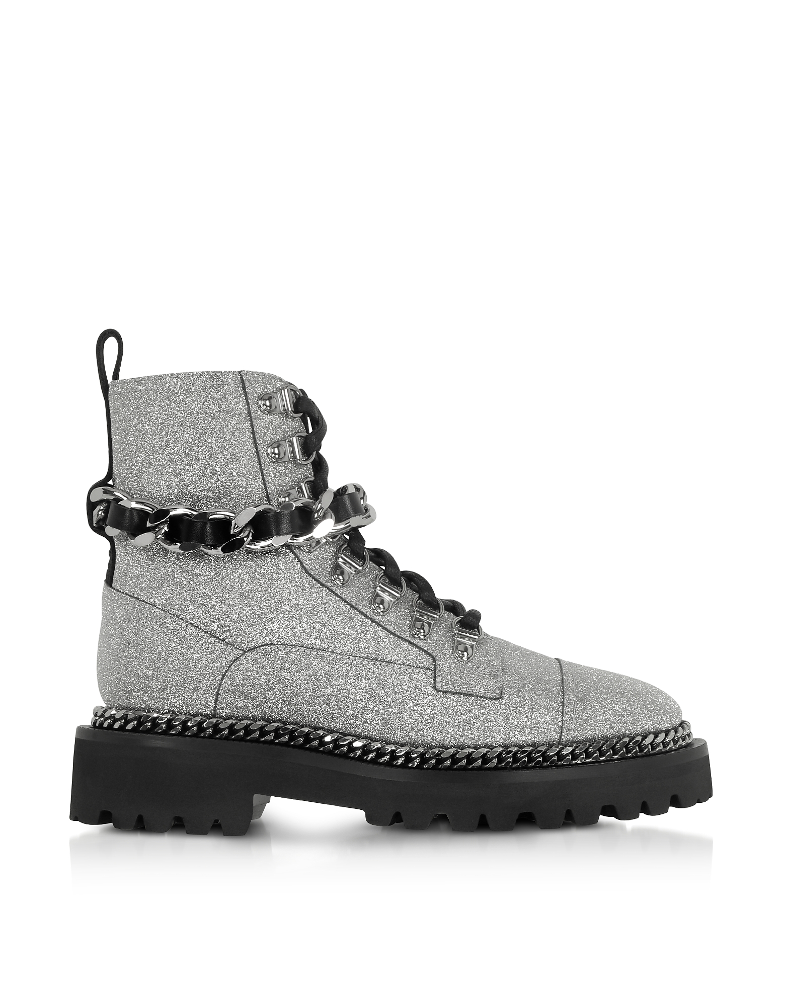 Army Boots Argento in Pelle Glitter