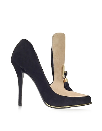 Balmain - Constance Black and Beige Soft Suede Pump
