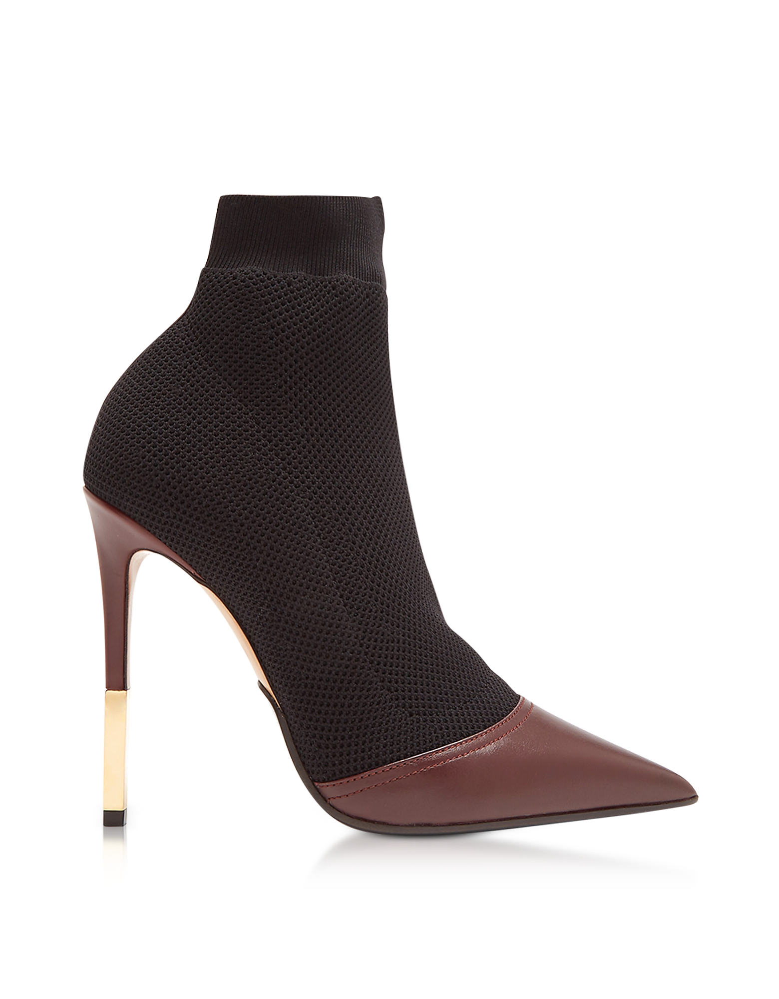 Balmain Shoes, Aurore Burgundy Point-toe Honeycomb-knit Ankle Boots