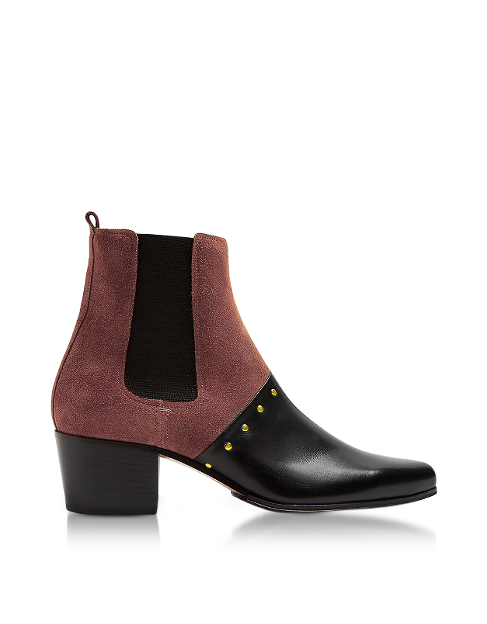 Balmain Shoes, Artemisia Black Leather and Burgundy Suede Boots