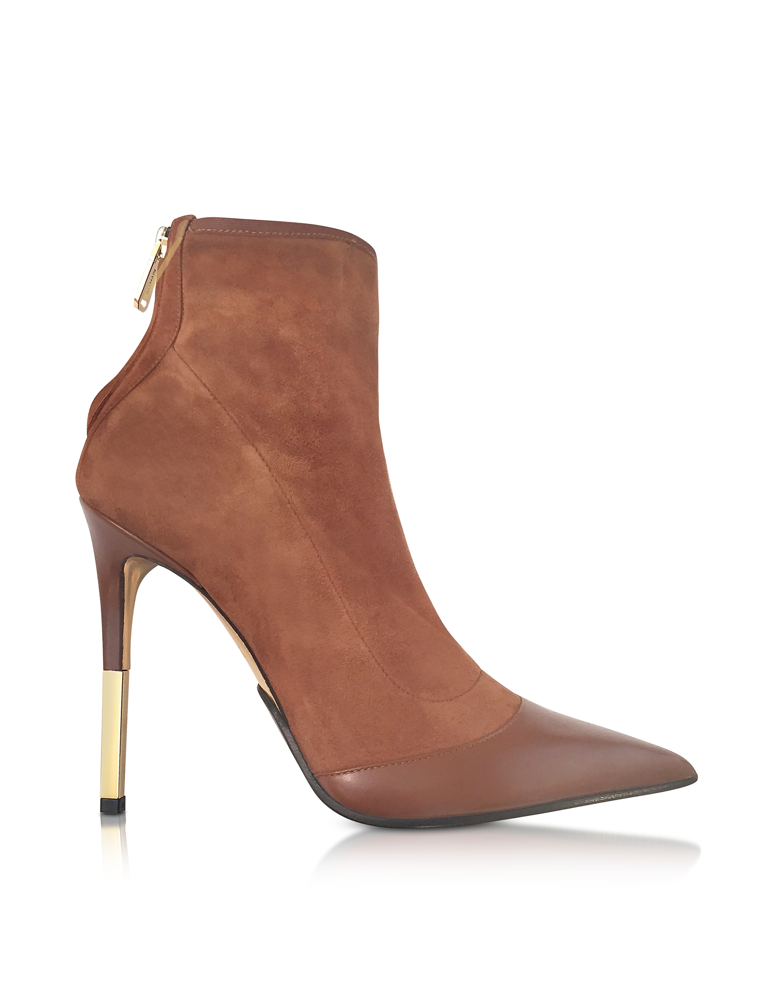Balmain Shoes, Blair Noisette Suede and Leather High Heel Booties