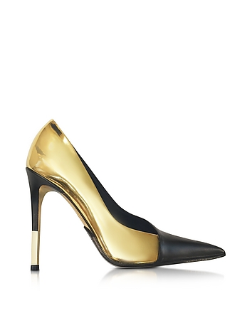 Agnes Gold Laminated Leather Pump