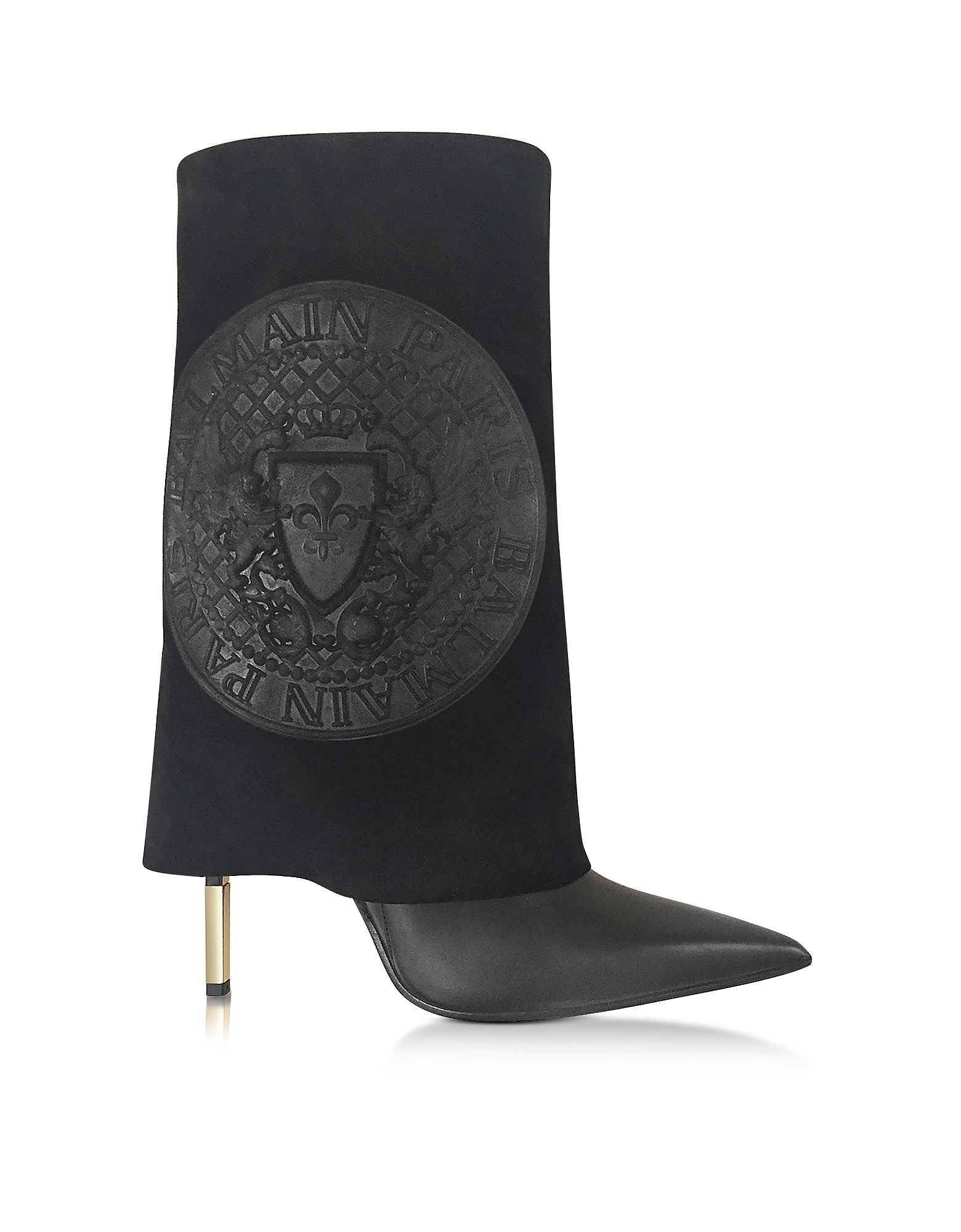 Balmain Shoes, Babette Black Leather and Suede High Heel Boots