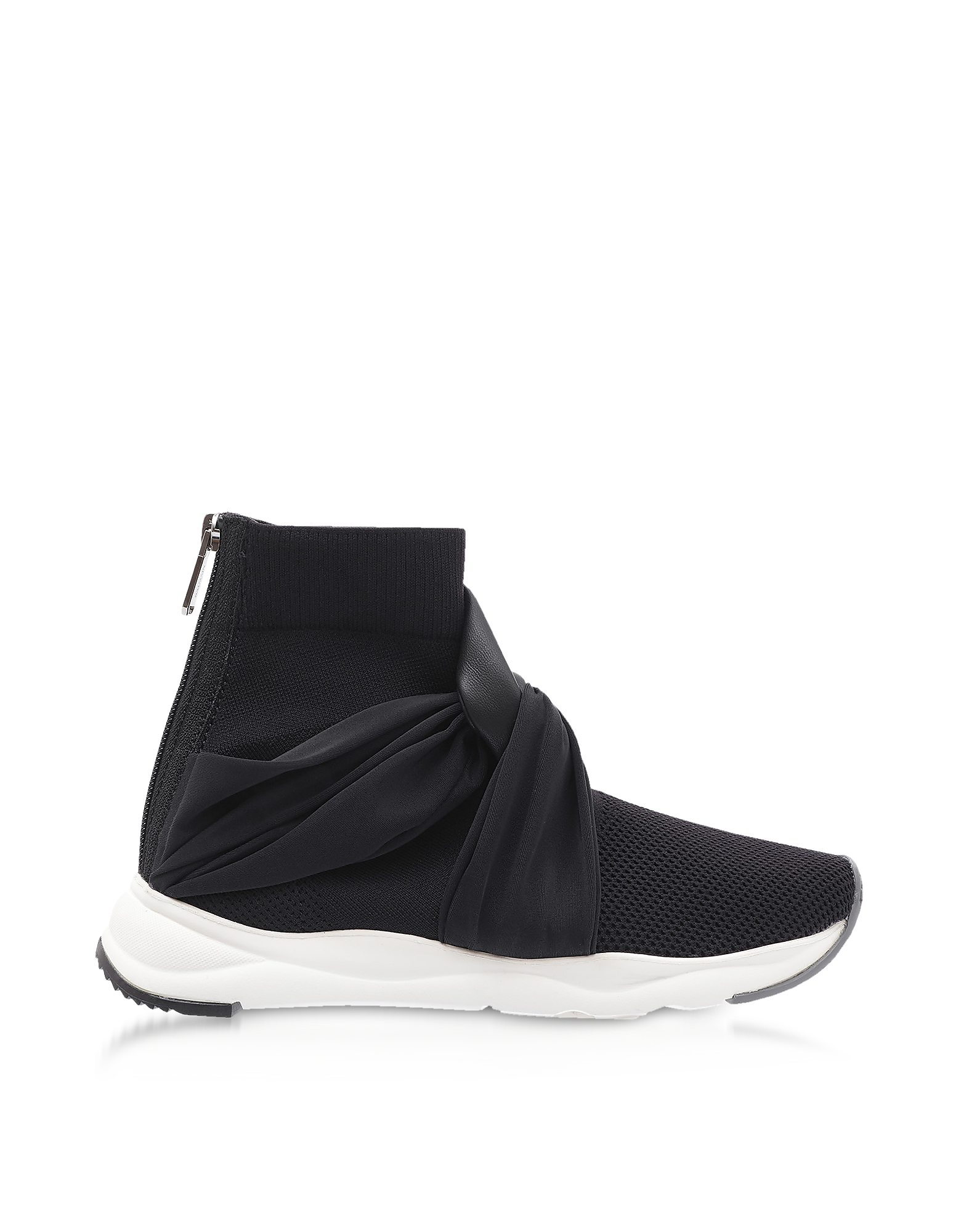 Balmain Shoes, Black Fabric and Leather Knot-knit Cameron Running Women's Sneakers