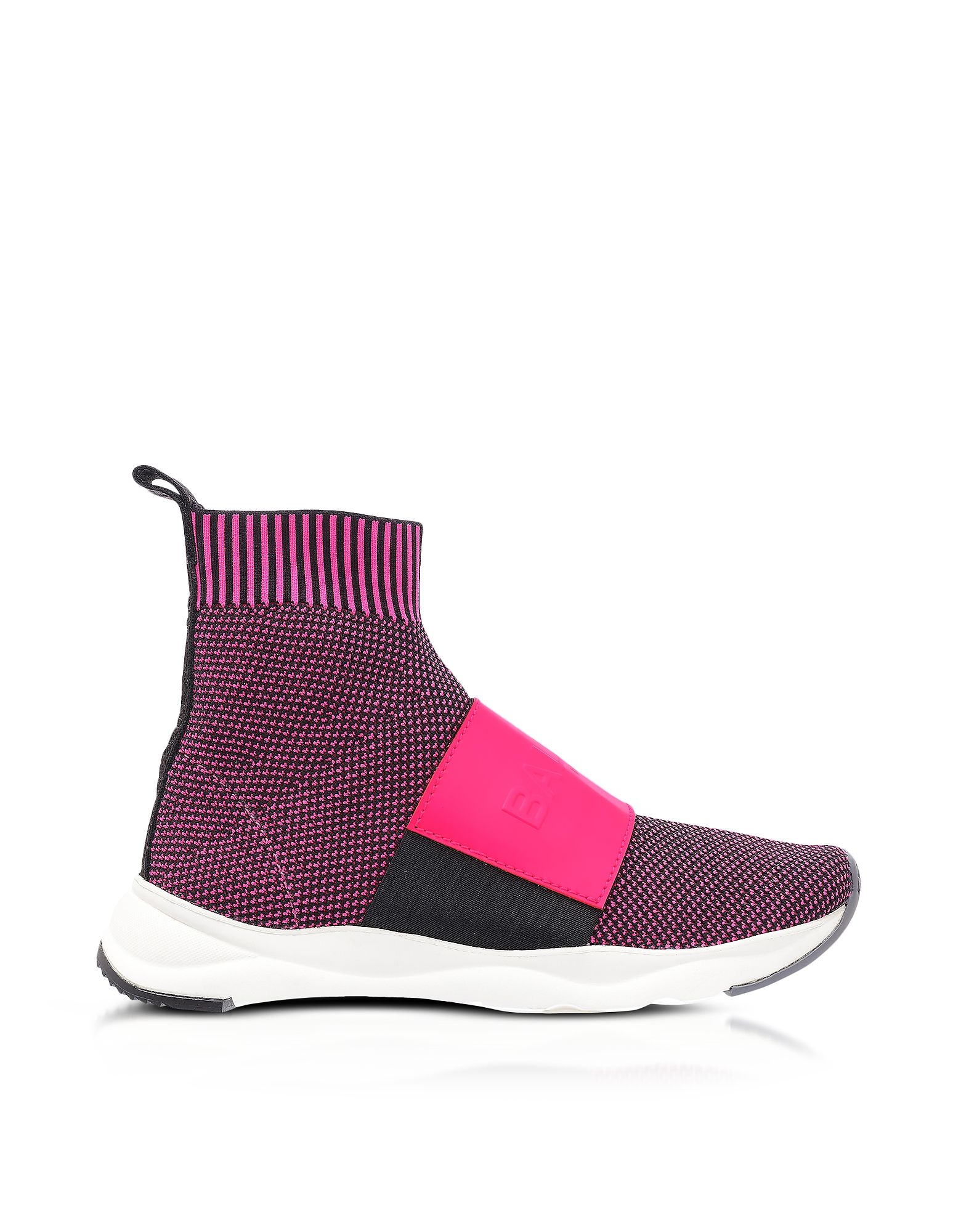 Balmain Shoes, Neon Fuchsia Knit Ribbon Fabric and Leather Cameron Running Women's Sneakers