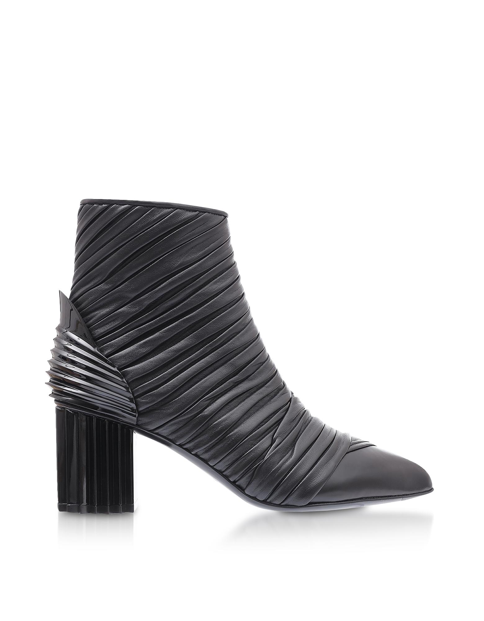 Balmain Shoes, Ilma Black Pleated Leather Heel Booties