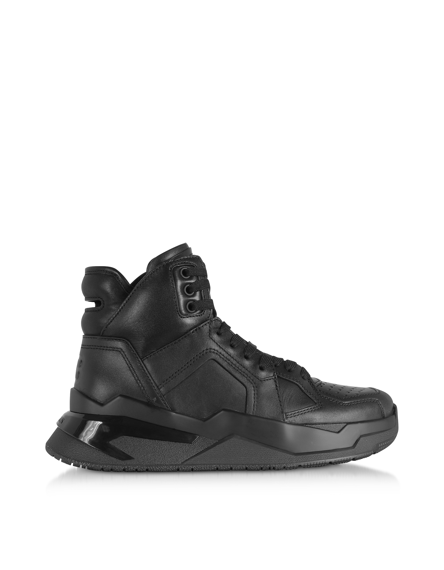 Balmain Designer Shoes, Black B-Ball Calfskin Leather Sneakers