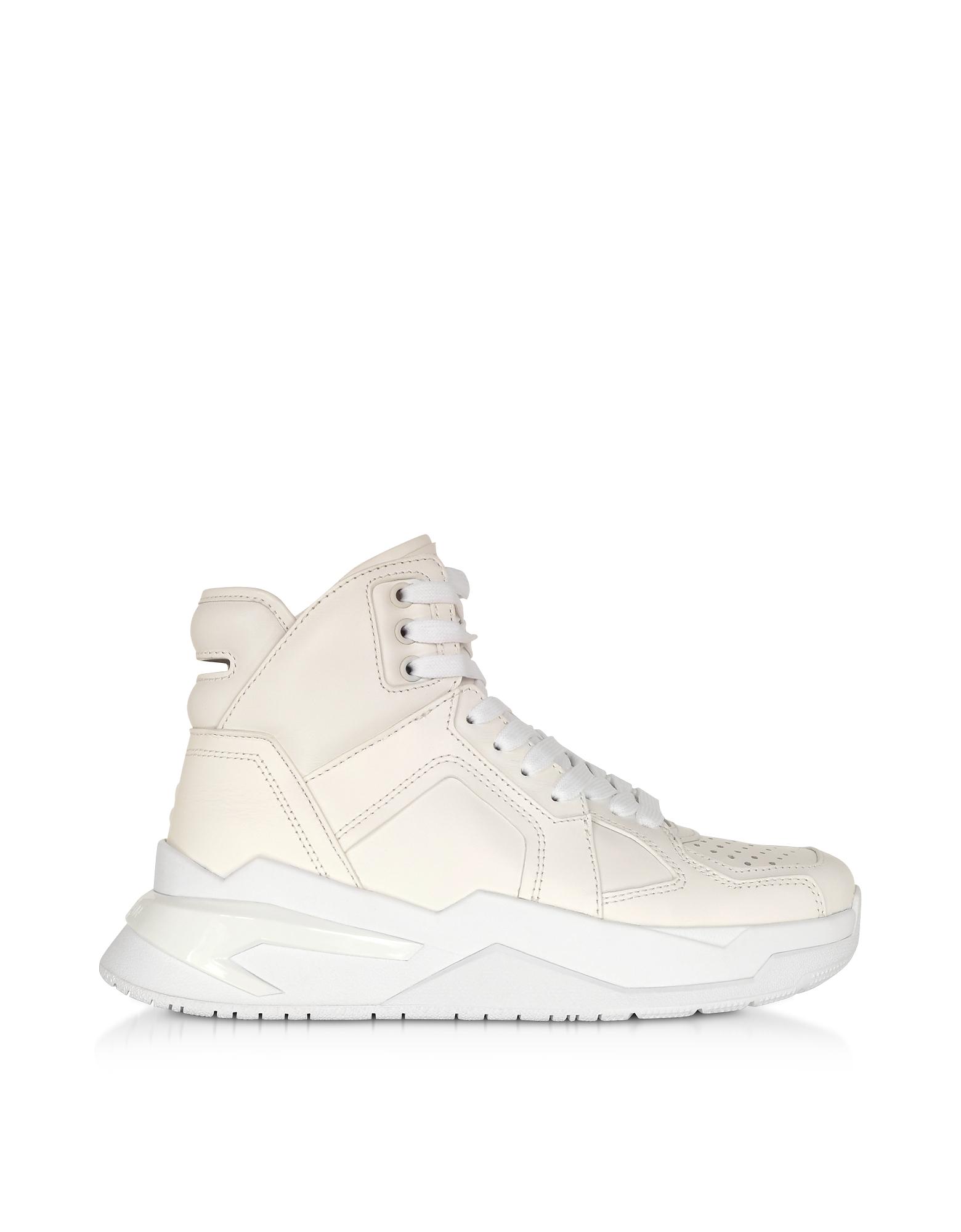 Balmain Designer Shoes, White B-Ball Calfskin Leather Sneakers