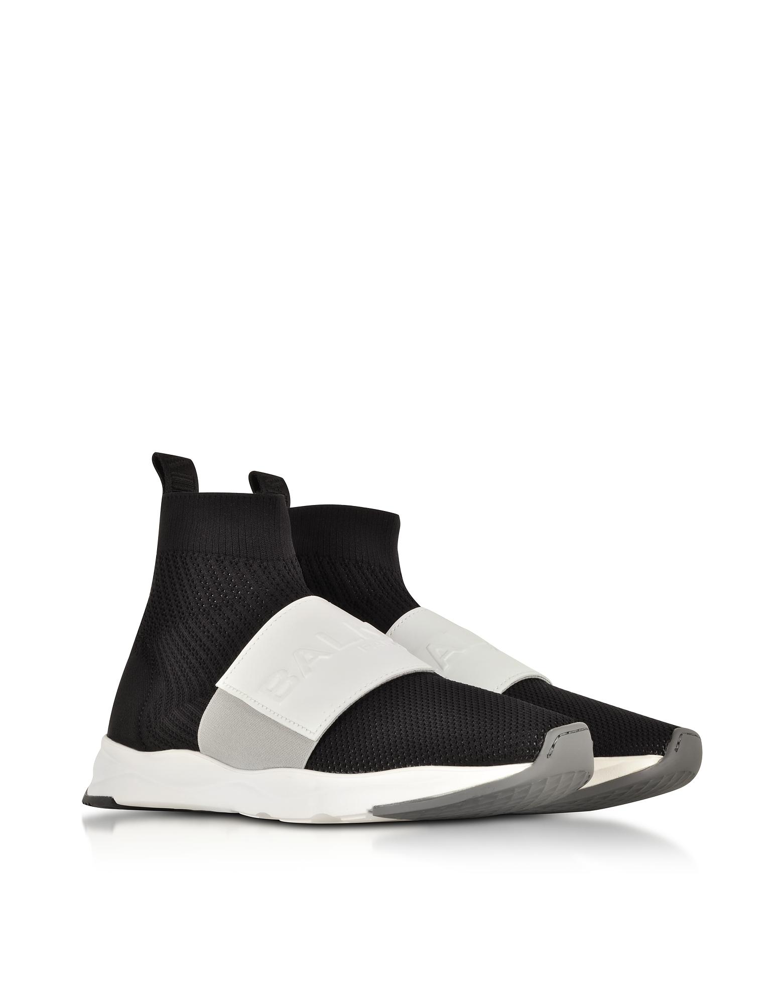 Balmain Shoes, Black & White Nylon and Leather Cameron Running Men's Snekers