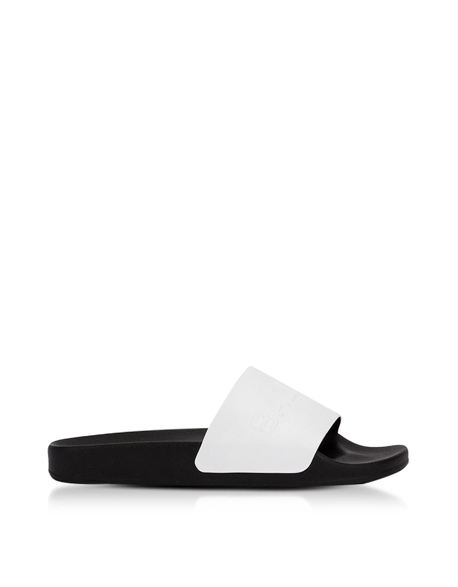 Balmain Shoes, White Leather Calypso Men's Slide Sandals