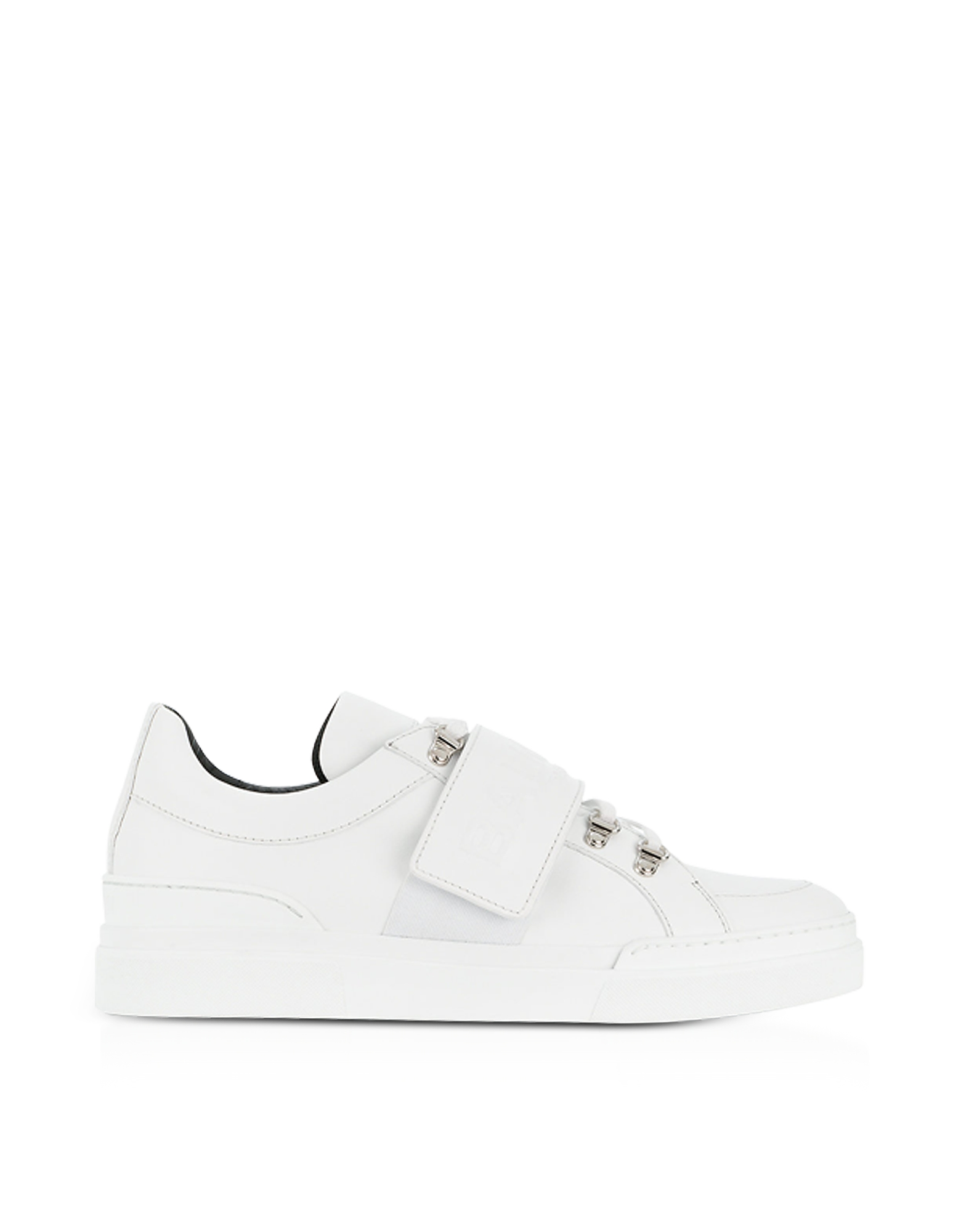 Balmain Shoes, White Leather Low Top Men's Cobalt Sneakers