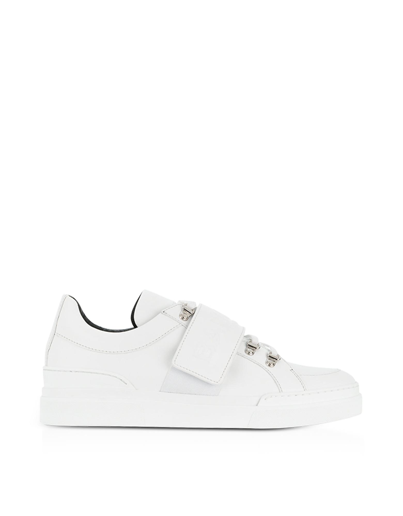 Balmain Shoes, White Leather Low Top Men's Cobalt Sneakers