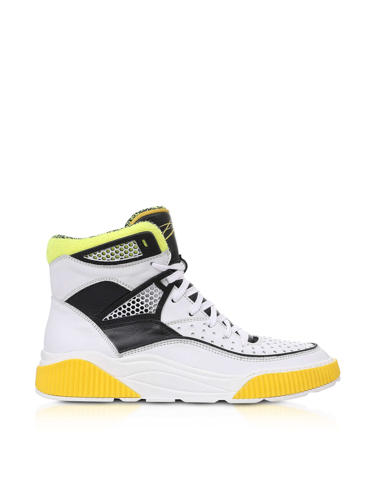 White and Yellow Kery-Leather High Top Sneakers