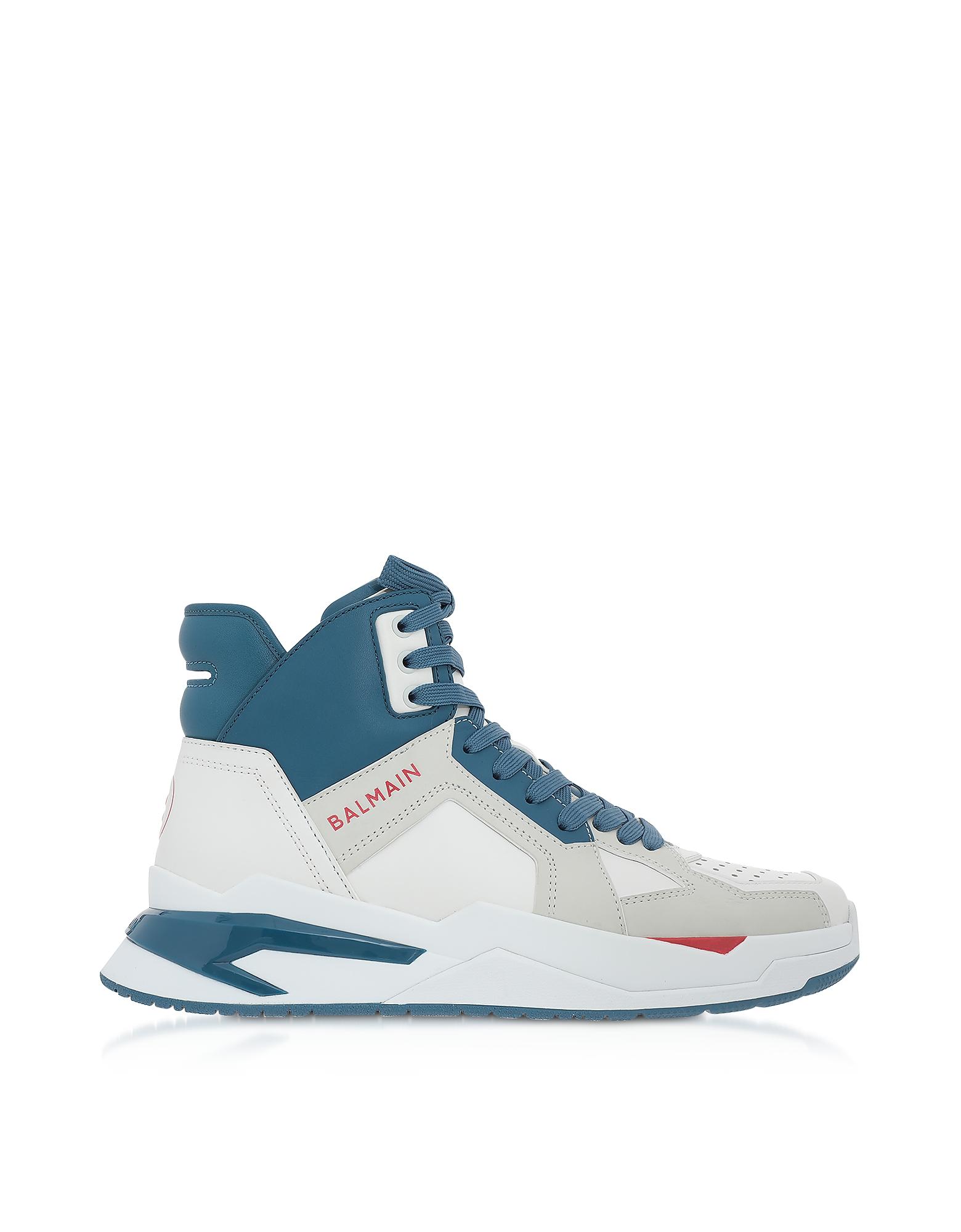 White & Blue High Top Men's B-Ball Sneakers