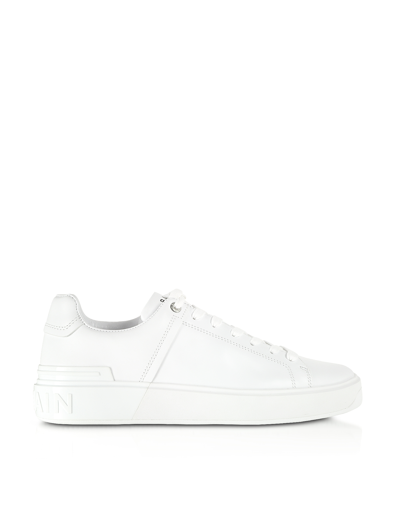 Balmain Designer Shoes, White Low Top Men's B-Court Sneakers