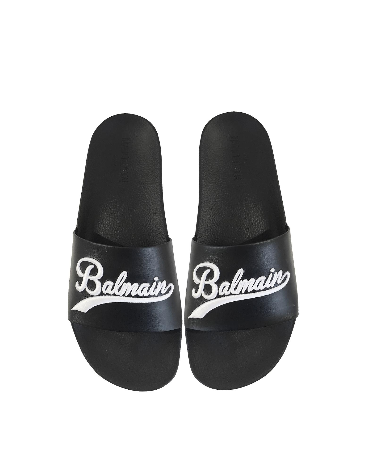 Balmain Shoes, Black Leather Calypso Men's Slide Sandals