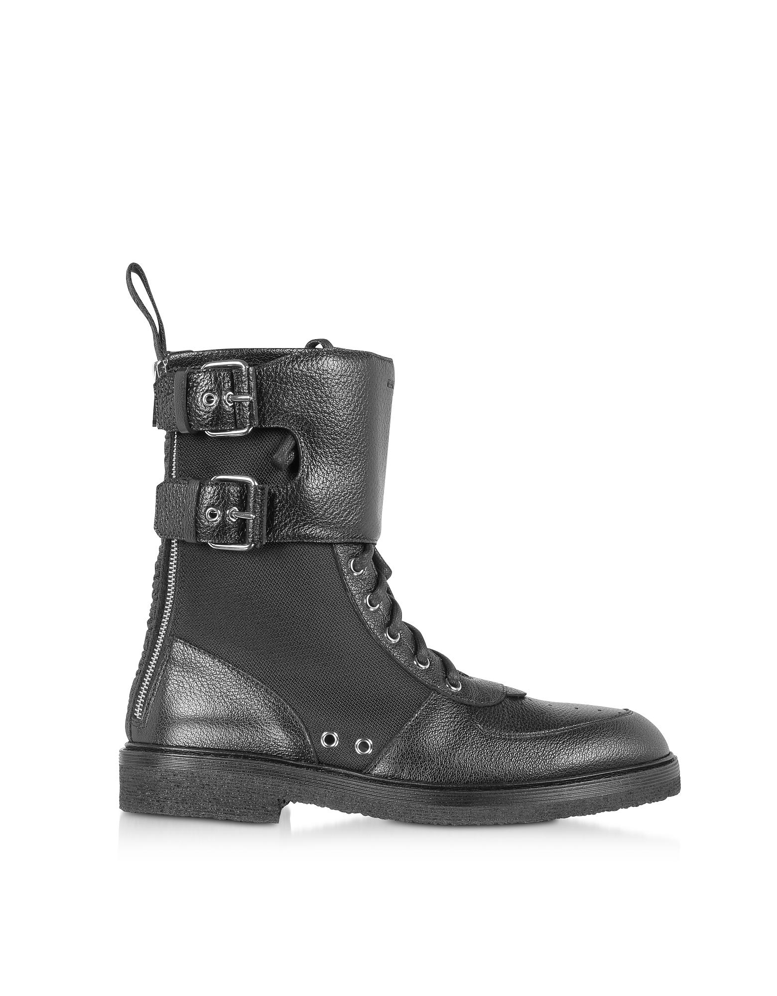 Balmain Designer Shoes, Leather & Nylon Maddox Ranger Boot