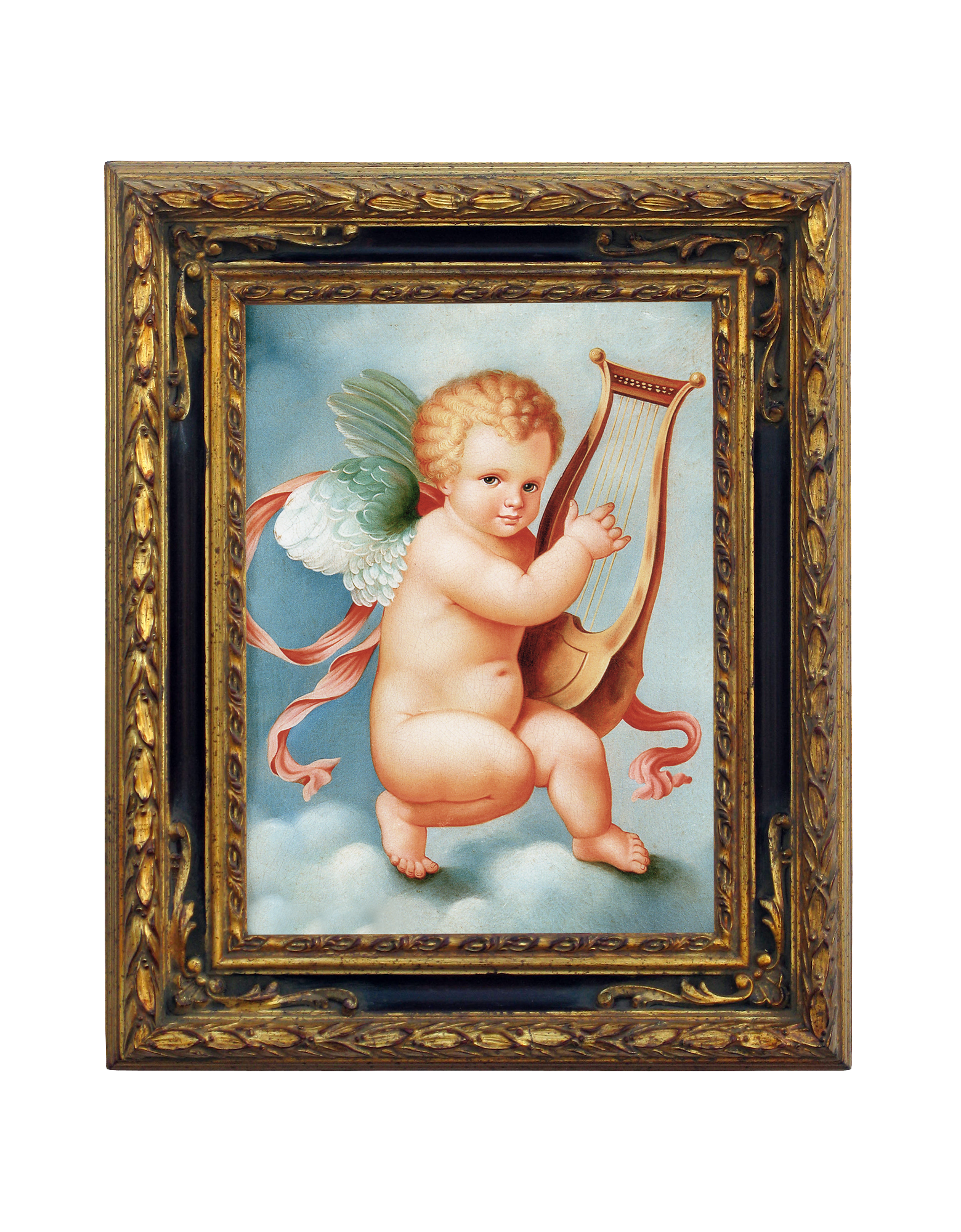 Image of Oil on Canvas Cherub Painting
