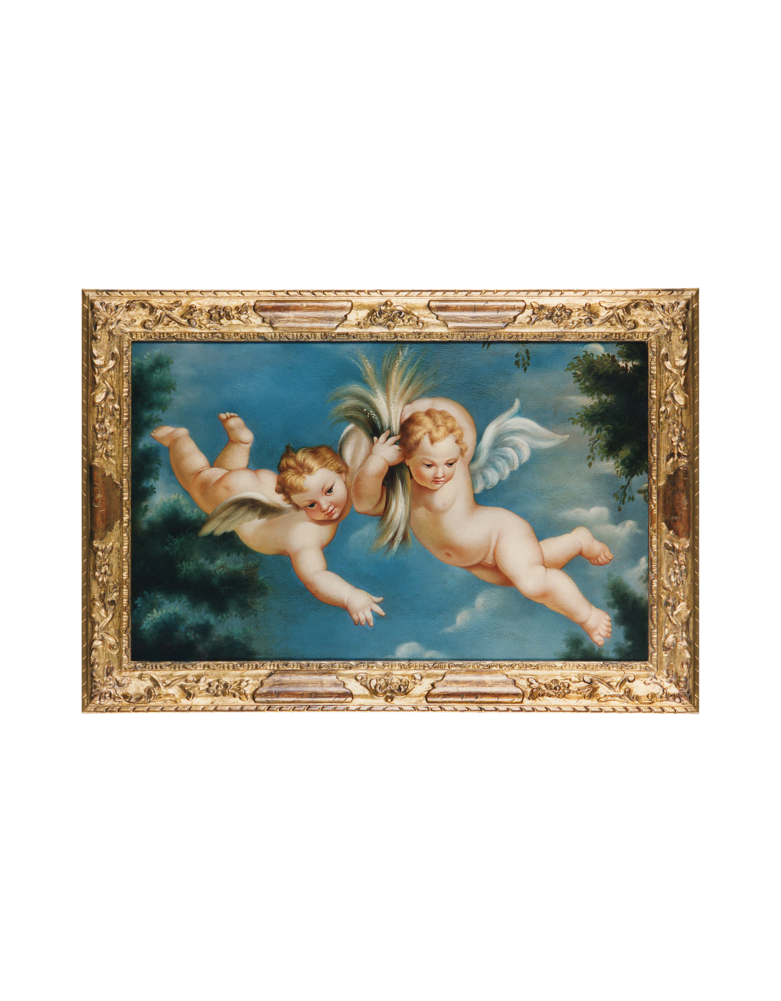 Image of Oil on Canvas Cherubs Painting