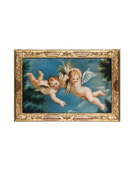Image of Bianchi Art Works Dipinto a Olio con Coppia di Cherubini
