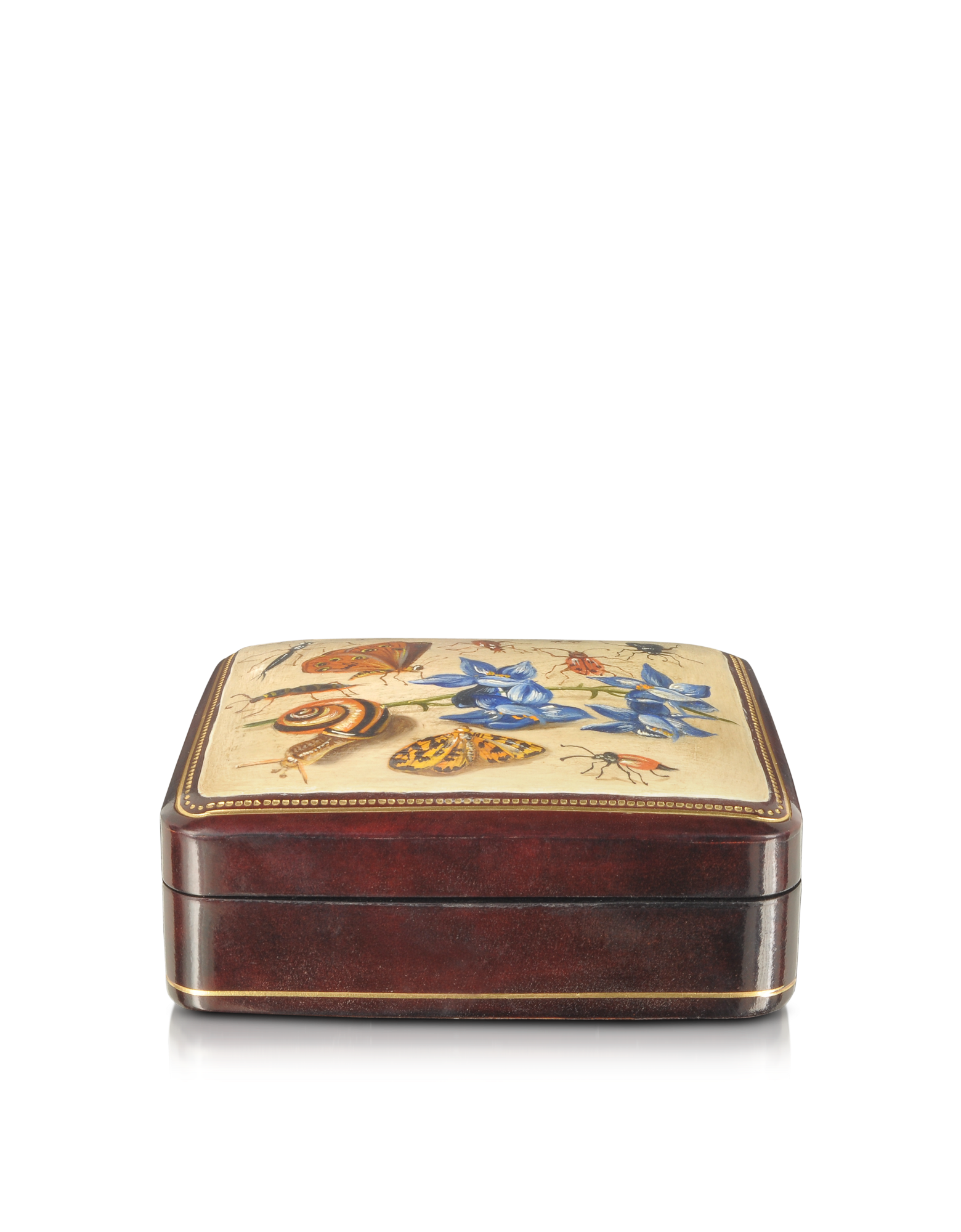 Image of Oil on Leather Mini Jewelry Box w/Light Blue Flower