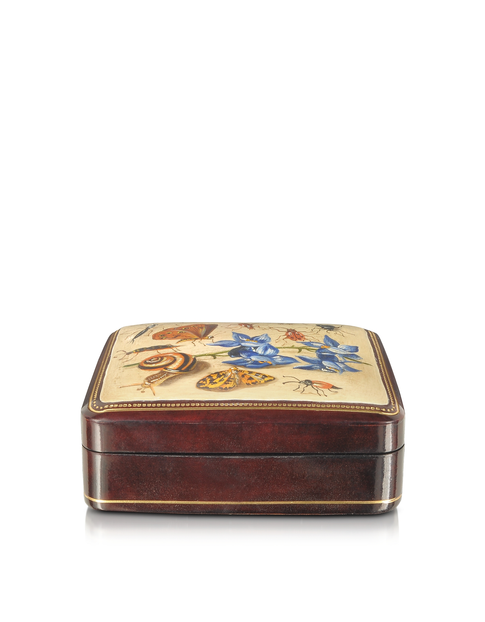 Oil on Leather Mini Jewelry Box w/Light Blue Flower, Brown