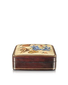 Oil on Leather Mini Jewelry Box w/Light Blue Flower - Bianchi Arte