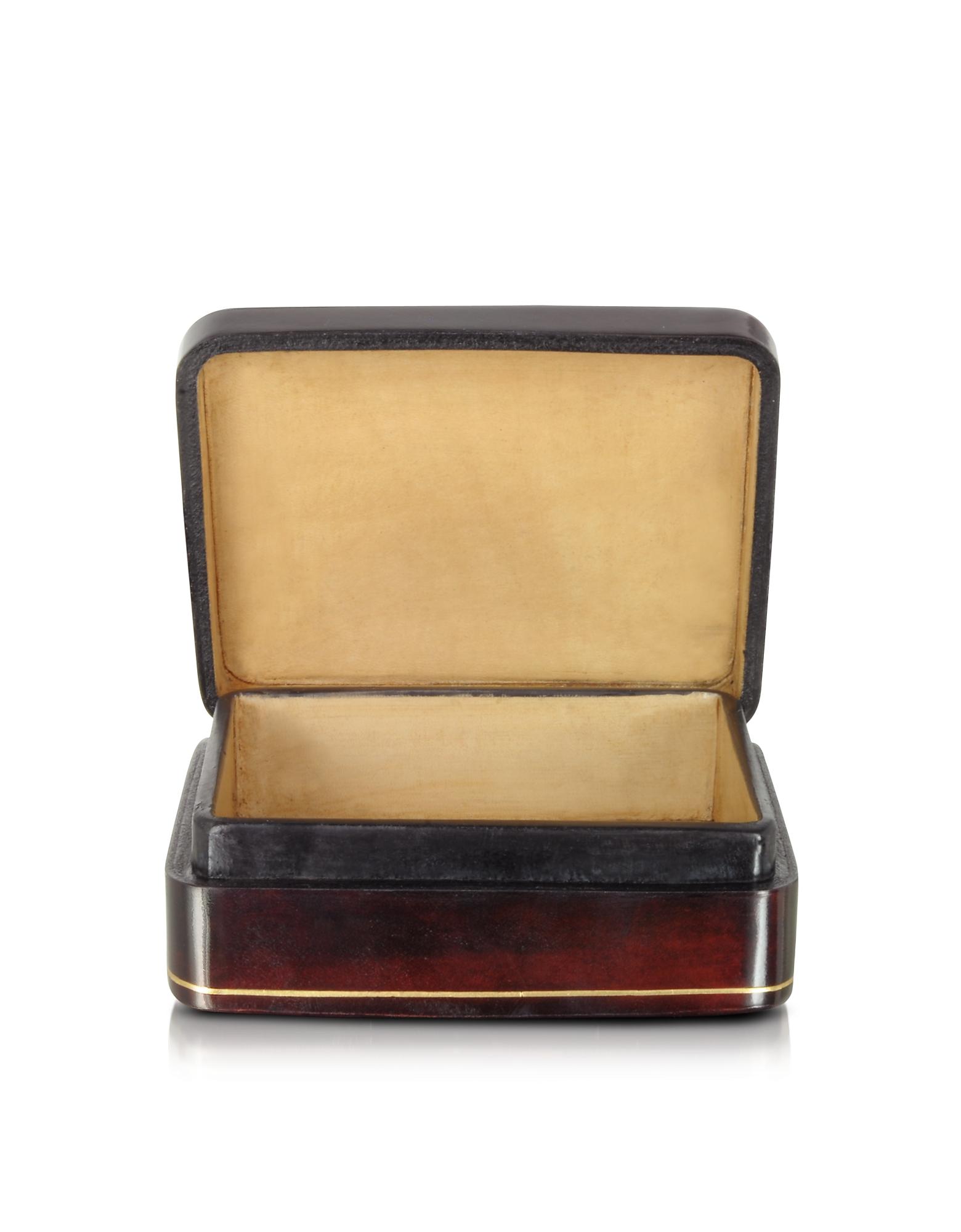 Oil on Leather Mini Jewelry Box w/Light Blue Flower от Forzieri.com INT