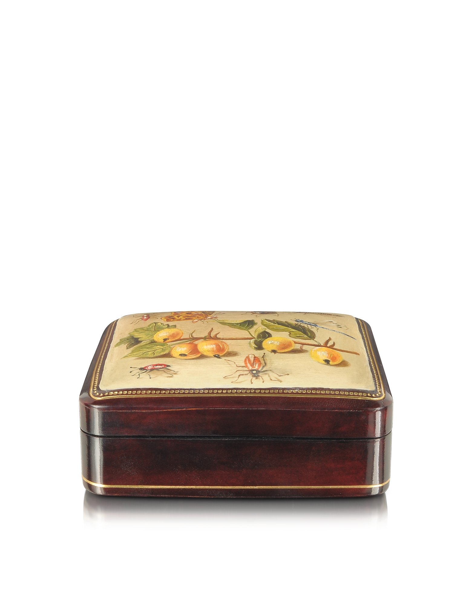 Oil on Leather Mini Jewelry Box, Yellow