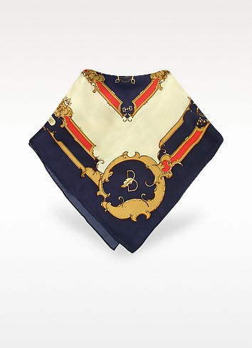 Blue & Cream Saddlery Print Silk Square Scarf - Basile