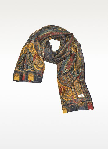 Multicolor Paisley Print Long Silk Scarf - Basile