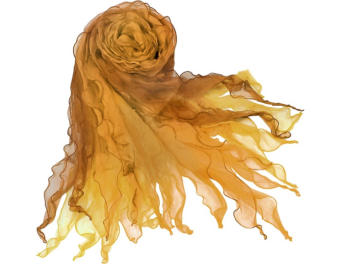 Shaded Ruffled Silk Long Scarf  - Basile