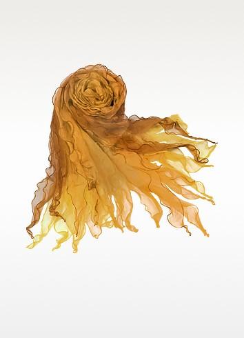 Shaded Ruffled Silk Long Scarf  - Basile