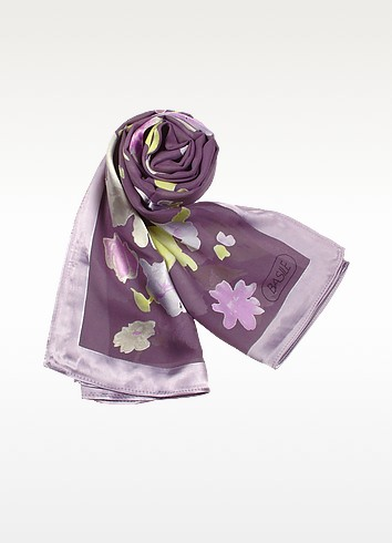 Floral Patterned Silk Long Scarf - Basile
