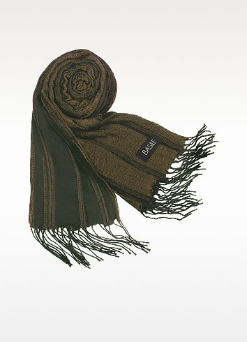 Striped Knit Fringed Long Scarf - Basile