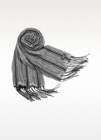 Shimmering Wool Fringed Long Scarf - Basile