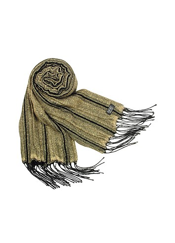 Basile Shimmering Wool Fringed Long Scarf :  women gold evening winter