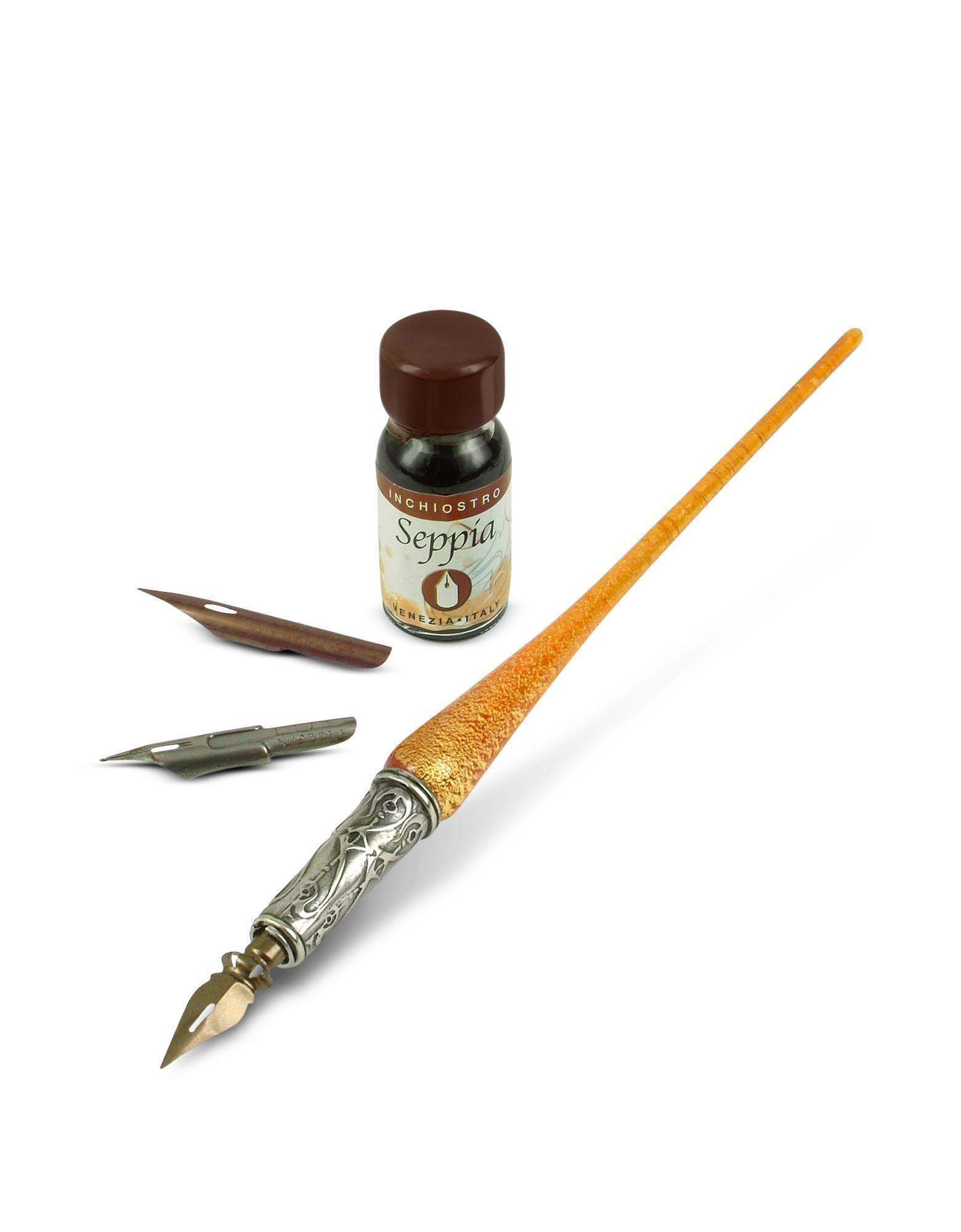 Bortoletti Handmade Red Gold Leaf Murano Glass Writing Set