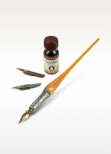 Handmade Red Gold Leaf Murano Glass Writing Set - Bortoletti
