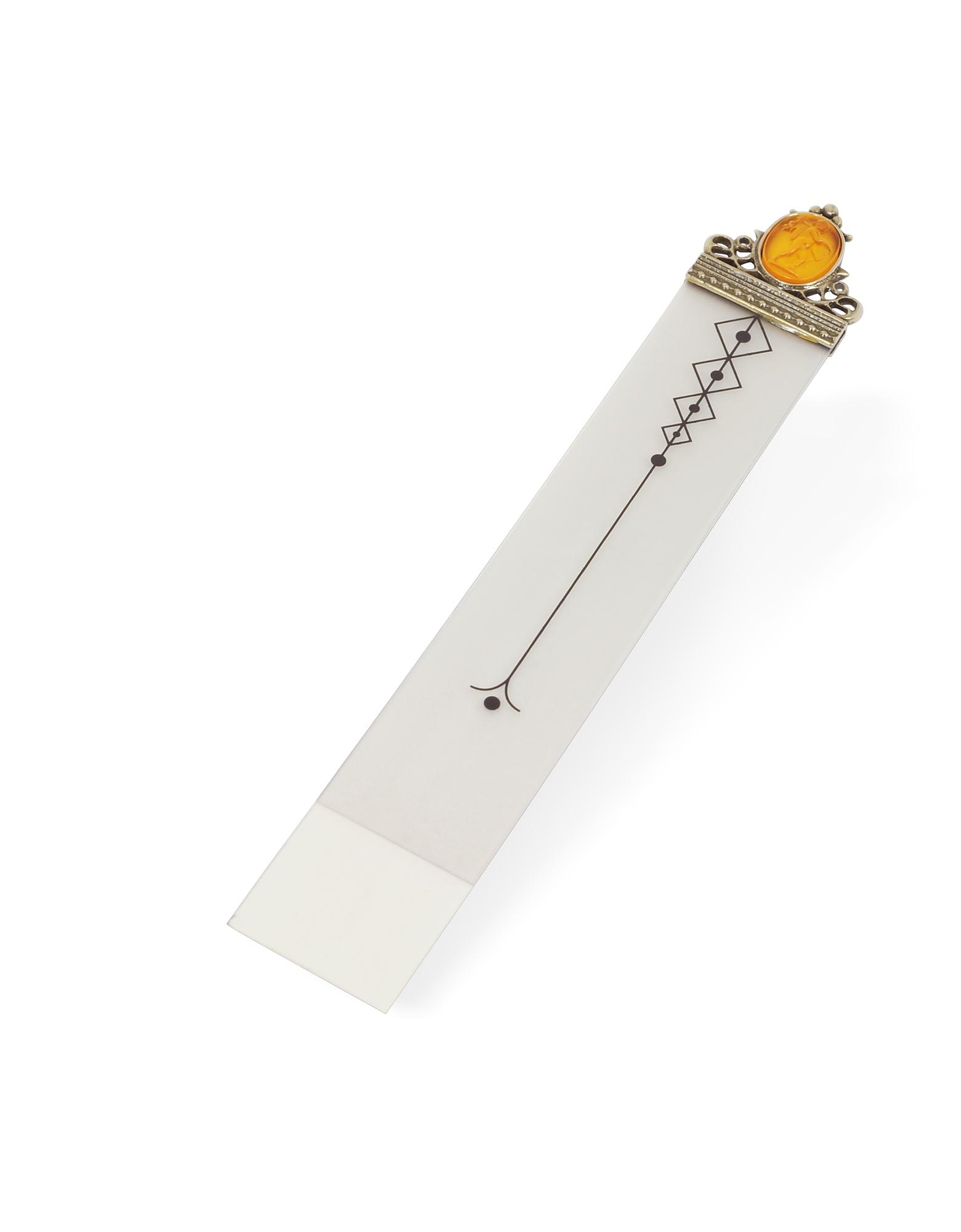 Amber Cameo Glass Transparent Bookmark