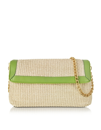 Buti - Straw and Leather Clutch w/Shoulder Strap