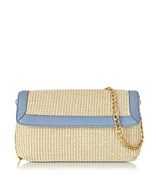 Straw and Leather Clutch w/Shoulder Strap - Buti