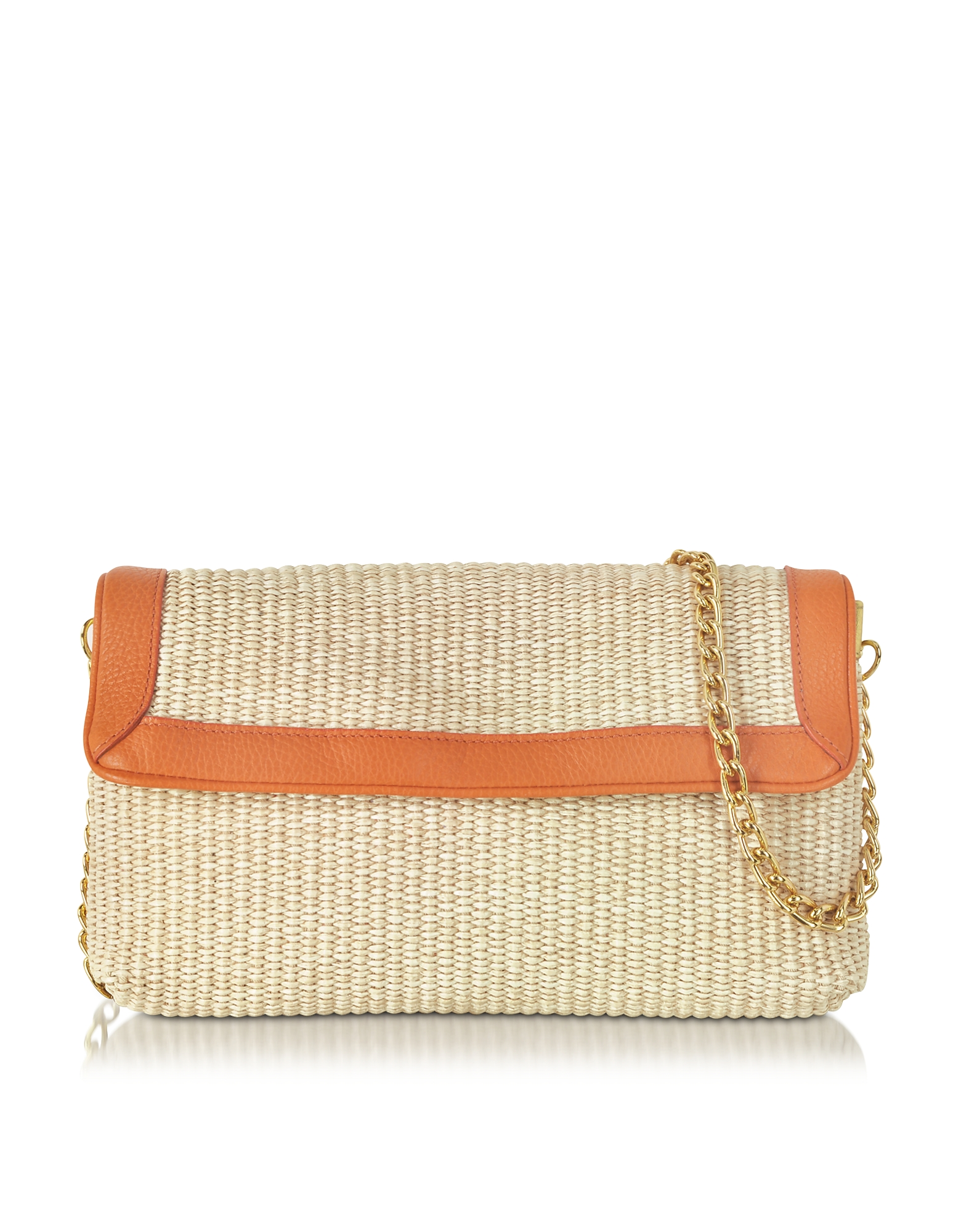 Buti Handbags, Straw and Leather Clutch w/Shoulder Strap