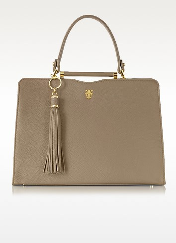 Taupe Leather Satchel Bag - Buti