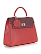 Color Block Embossed Leather Satchel Bag - Buti