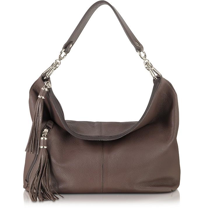 Dark Brown Leather Shoulder Bag - Buti