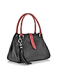 Black and Red Leather Satchel Bag - Buti