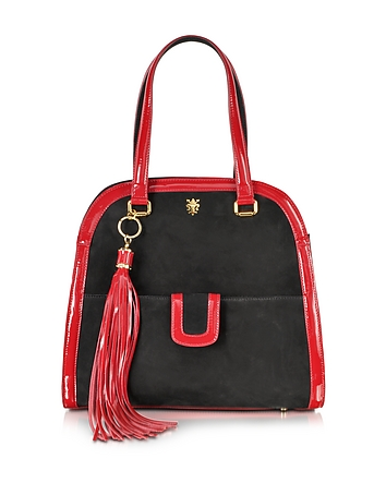 Buti - Black Suede and Red Patent Leather Shoulder Bag