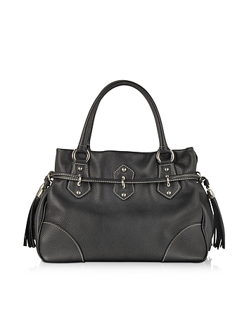 Buti - Black Leather Shoulder Bag w/Tassels